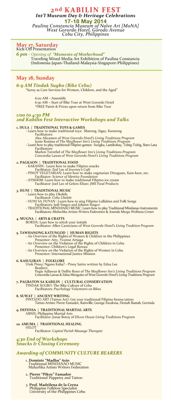 2nd KABILIN FEST Schedule of Activities