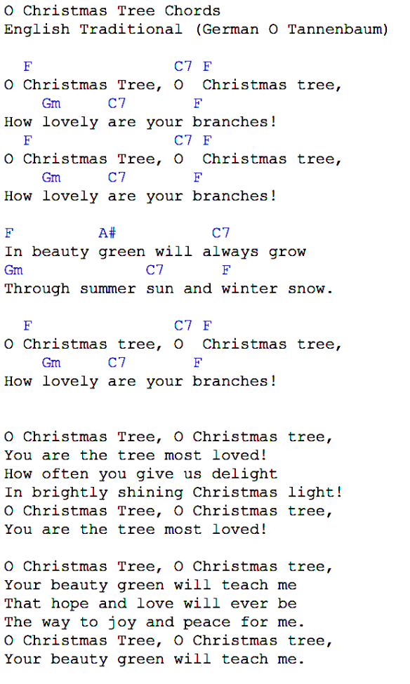 oh xmas tree chords - Oh Christmas Tree How Lovely Are Your Branches Lyrics